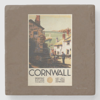 Street Scene with Two Men Working Railway Stone Coaster