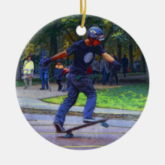 Street Skating  -  Skateboarder Round Ceramic Decoration