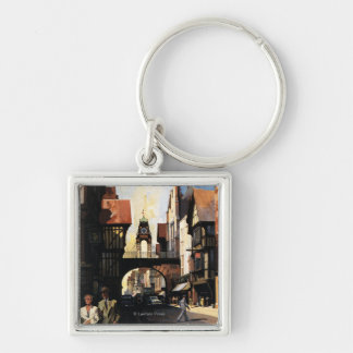 Street View with Couple & Tower Clock Rail Key Ring