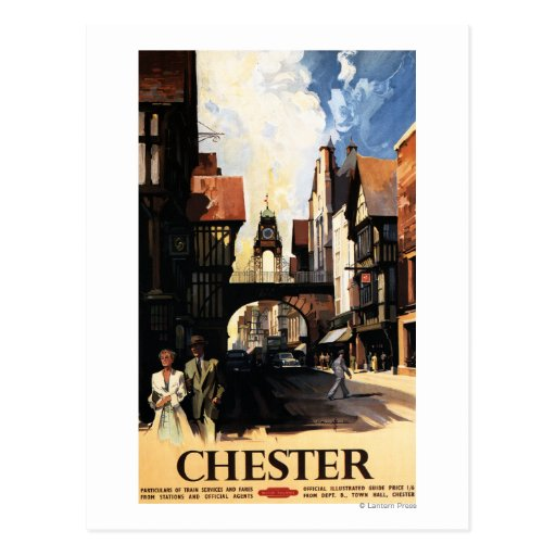 Street View with Couple & Tower Clock Rail Post Card