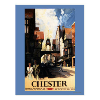 Street View with Couple & Tower Clock Rail Postcard