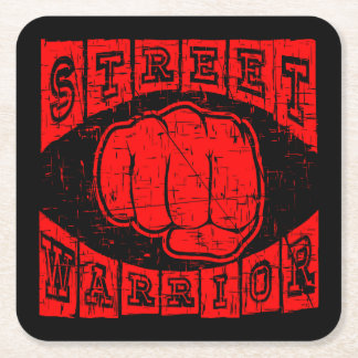 street warrior square paper coaster