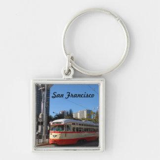 Streetcar- San Francisco Silver-Colored Square Key Ring