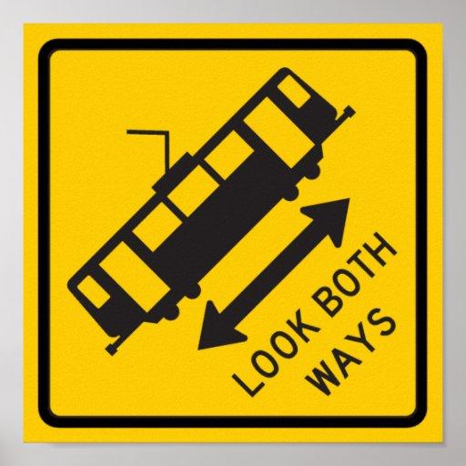 Streetcar Warning Highway Sign Print