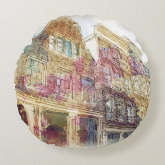 Streets of Old Amsterdam Round Cushion