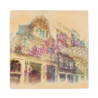 Streets of Old Amsterdam Wood Coaster