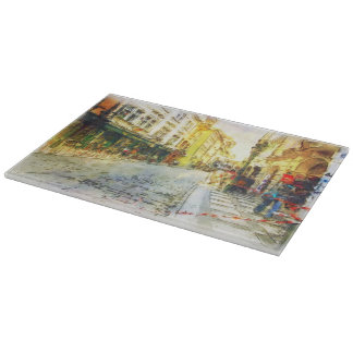 Streets of Old Prague watercolor Cutting Board