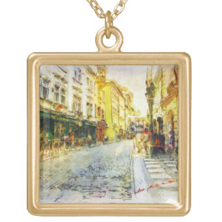 Streets of Old Prague watercolor Gold Plated Necklace