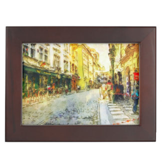 Streets of Old Prague watercolor Keepsake Box