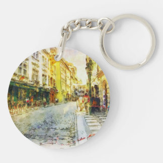Streets of Old Prague watercolor Key Ring