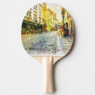 Streets of Old Prague watercolor Ping Pong Paddle