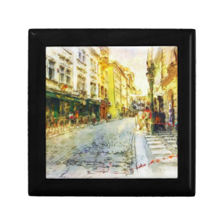 Streets of Old Prague watercolor Small Square Gift Box