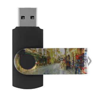 Streets of Old Prague watercolor USB Flash Drive