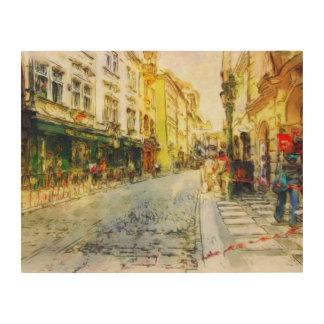 Streets of Old Prague watercolor Wood Prints