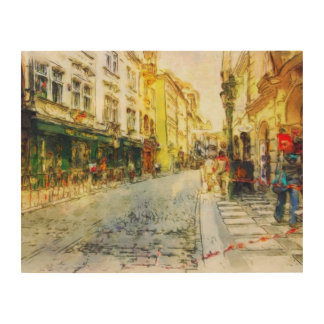 Streets of Old Prague watercolor Wood Wall Art