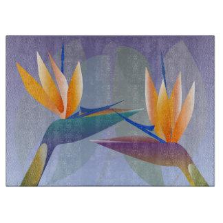 Strelitzia or bird of paradise flowers cutting board