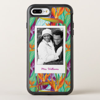 Strelitzia Pattern | Add Your Photo & Name OtterBox Symmetry iPhone 7 Plus Case