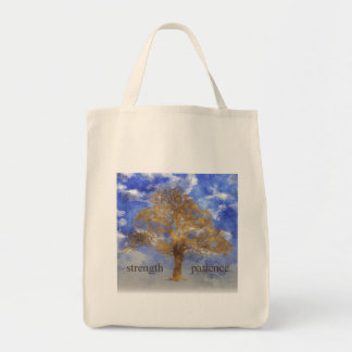 STRENGTH AND PATIENCE GROCERY TOTE BAG
