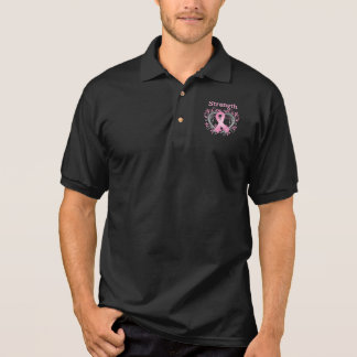 Strength Breast Cancer Awareness Ribbon Polo