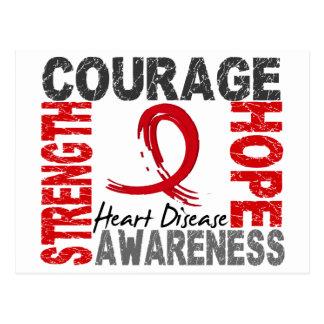 Strength Courage Hope Heart Disease Postcard