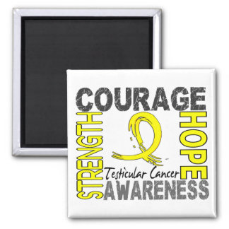 Strength Courage Hope Testicular Cancer Square Magnet