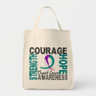 Strength Courage Hope Thyroid Cancer Tote Bags