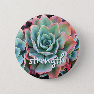 """Strength"" quote pink & green cactus photo button"