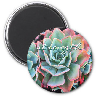 """Strength"" quote pink & green cactus photo magnet"
