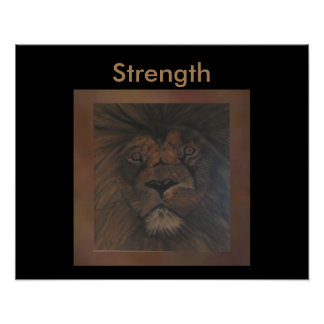 STRENGTH Wild Lion Poster on Brown/Black