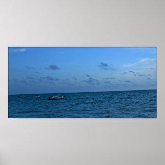 stress relieving spa home decor blue sky sea poster