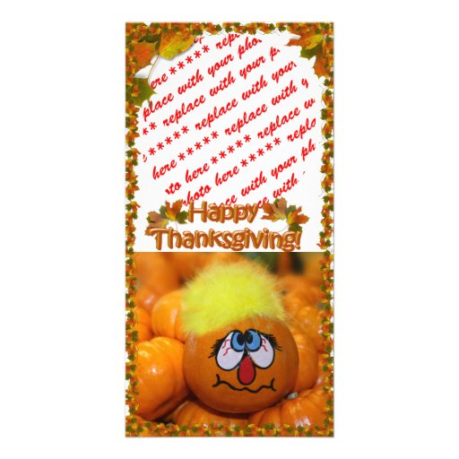 Stressed Out Painted Mini Pumpkin Photo Greeting Card
