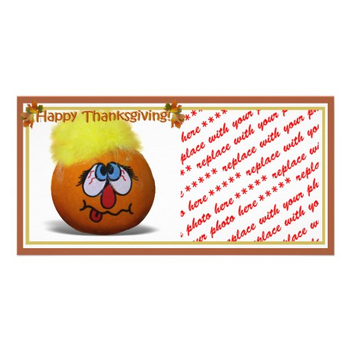 Stressed Out Painted Mini Pumpkin Custom Photo Card