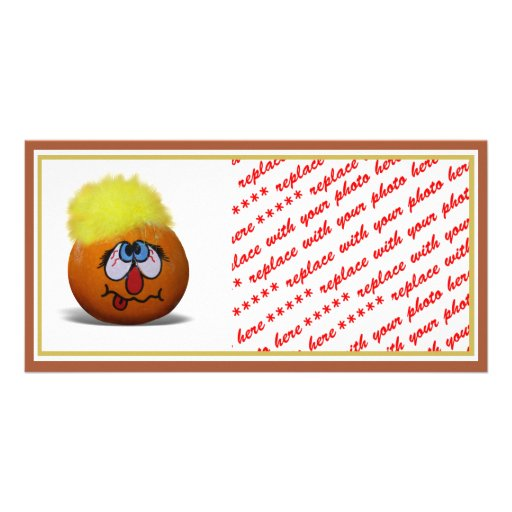 Stressed Out Painted Mini Pumpkin Photo Card Template