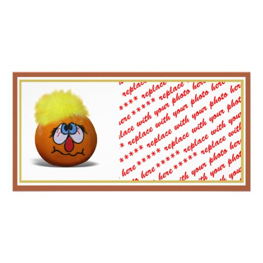 Stressed Out Painted Mini Pumpkin Personalized Photo Card