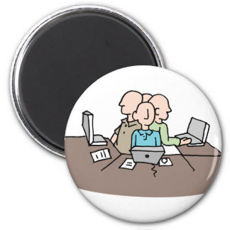 Stressful crowded workplace environment 6 cm round magnet