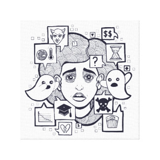 """Stresshead"" Anxious Stressed Woman Drawing Print"