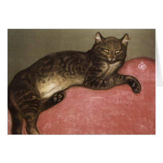 Stretched Cat on Sofa - by Theophile Steinlen Greeting Card