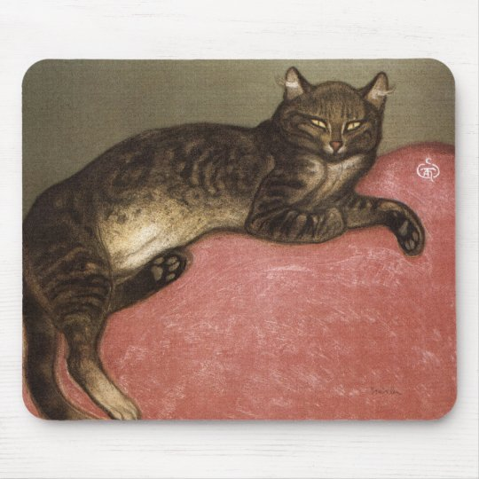 Stretched Cat on Sofa - by Theophile Steinlen Mouse Mat