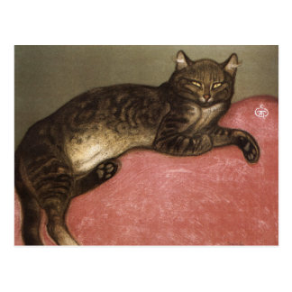 Stretched Cat on Sofa - by Theophile Steinlen Postcard