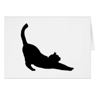 Stretching Black Cat Silhouette Greeting Card