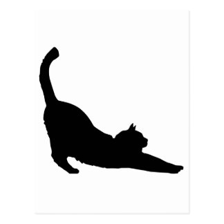 Stretching Black Cat Silhouette Postcard