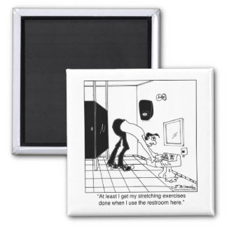 Stretching Exercises in a Restroom Square Magnet