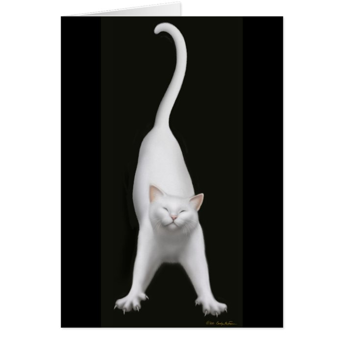 Stretching White Cat Card