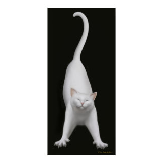 Stretching White Cat Print