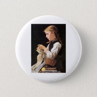 Strickendes Mädchen Knitting Girl 6 Cm Round Badge
