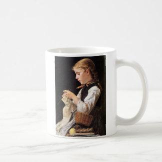 Strickendes Mädchen Knitting Girl Basic White Mug