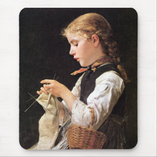 Strickendes Mädchen Knitting Girl Mouse Pad