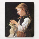 Strickendes Mädchen Knitting Girl Mouse Pads