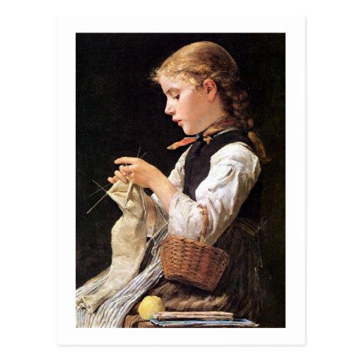 Strickendes Mädchen Knitting Girl Post Card