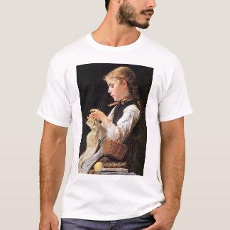 Strickendes Mädchen Knitting Girl T-Shirt